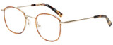 Profile View of Eyebobs Inside 3174-06 Designer Single Vision Prescription Rx Eyeglasses in Orange Tortoise Havana Gold Unisex Square Full Rim Metal 48 mm