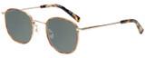 Profile View of Eyebobs Inside 3174-06 Designer Polarized Sunglasses with Custom Cut Smoke Grey Lenses in Orange Tortoise Havana Gold Unisex Square Full Rim Metal 48 mm