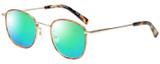 Profile View of Eyebobs Inside 3174-06 Designer Polarized Reading Sunglasses with Custom Cut Powered Green Mirror Lenses in Orange Tortoise Havana Gold Unisex Square Full Rim Metal 48 mm
