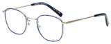 Profile View of Eyebobs Inside 3174-10 Designer Reading Eye Glasses with Custom Cut Powered Lenses in Blue Silver Unisex Square Full Rim Metal 48 mm