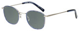 Profile View of Eyebobs Inside 3174-10 Designer Polarized Reading Sunglasses with Custom Cut Powered Smoke Grey Lenses in Blue Silver Unisex Square Full Rim Metal 48 mm