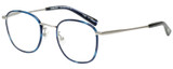 Profile View of Eyebobs Outside 3172-10 Unisex Round Designer Reading Glasses Blue Silver 47 mm