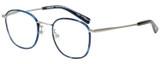 Profile View of Eyebobs Outside 3172-10 Designer Bi-Focal Prescription Rx Eyeglasses in Blue Silver Unisex Round Full Rim Metal 47 mm
