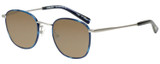 Profile View of Eyebobs Outside 3172-10 Designer Polarized Sunglasses with Custom Cut Amber Brown Lenses in Blue Silver Unisex Round Full Rim Metal 47 mm