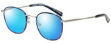 Profile View of Eyebobs Outside 3172-10 Designer Polarized Reading Sunglasses with Custom Cut Powered Blue Mirror Lenses in Blue Silver Unisex Round Full Rim Metal 47 mm