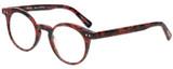 Profile View of Eyebobs Reva 2747-01 Designer Reading Eye Glasses with Custom Cut Powered Lenses in Red Black Marble Swirl Unisex Cateye Full Rim Acetate 45 mm