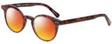Profile View of Eyebobs Reva 2747-01 Designer Polarized Sunglasses with Custom Cut Red Mirror Lenses in Red Black Marble Swirl Unisex Cateye Full Rim Acetate 45 mm