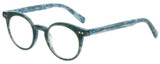 Profile View of Eyebobs Reva 2747-10 Unisex Cateye Designer Reading Glasses Green Blue Marble 45mm