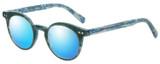 Profile View of Eyebobs Reva 2747-10 Designer Polarized Sunglasses with Custom Cut Blue Mirror Lenses in Green Blue Marble Unisex Cateye Full Rim Acetate 45 mm