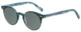 Profile View of Eyebobs Reva 2747-10 Designer Polarized Reading Sunglasses with Custom Cut Powered Smoke Grey Lenses in Green Blue Marble Unisex Cateye Full Rim Acetate 45 mm