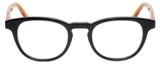 Front View of Eyebobs Take A Stand 2600-77 Designer Progressive Lens Prescription Rx Eyeglasses in Black Orange Crystal Unisex Classic Full Rim Acetate 47 mm