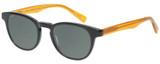 Profile View of Eyebobs Take A Stand 2600-77 Designer Polarized Sunglasses with Custom Cut Smoke Grey Lenses in Black Orange Crystal Unisex Classic Full Rim Acetate 47 mm