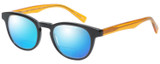 Profile View of Eyebobs Take A Stand 2600-77 Designer Polarized Reading Sunglasses with Custom Cut Powered Blue Mirror Lenses in Black Orange Crystal Unisex Classic Full Rim Acetate 47 mm
