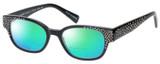 Profile View of Eyebobs Study A Broad 2506-00 Designer Polarized Reading Sunglasses with Custom Cut Powered Green Mirror Lenses in Black Crystal Rhinestones Ladies Cateye Full Rim Acetate 49 mm