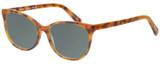 Profile View of Eyebobs Sweetie 3150-06 Designer Polarized Reading Sunglasses with Custom Cut Powered Smoke Grey Lenses in Orange Tortoise Havana Unisex Cateye Full Rim Acetate 54 mm