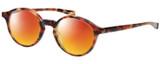 Profile View of Eyebobs Top Notch 2444-12 Designer Polarized Sunglasses with Custom Cut Red Mirror Lenses in Tortoise Havana Brown Gold Unisex Round Full Rim Acetate 47 mm