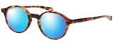 Profile View of Eyebobs Top Notch 2444-12 Designer Polarized Reading Sunglasses with Custom Cut Powered Blue Mirror Lenses in Tortoise Havana Brown Gold Unisex Round Full Rim Acetate 47 mm