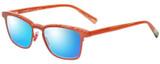 Profile View of Eyebobs Win Win 3158-77 Designer Polarized Sunglasses with Custom Cut Blue Mirror Lenses in Orange Red Mesh Unisex Rectangle Full Rim Acetate 51 mm