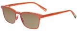 Profile View of Eyebobs Win Win 3158-77 Designer Polarized Reading Sunglasses with Custom Cut Powered Amber Brown Lenses in Orange Red Mesh Unisex Rectangle Full Rim Acetate 51 mm