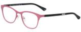 Profile View of Eyebobs Irregular Curves Ladies Designer Reading Glasses Satin Pink Black 51 mm