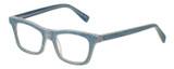 Profile View of Eyebobs Jean Pool Designer Reading Eye Glasses with Custom Cut Powered Lenses in Blue Denim Unisex Square Full Rim Acetate 45 mm