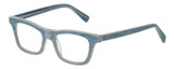 Profile View of Eyebobs Jean Pool Designer Single Vision Prescription Rx Eyeglasses in Blue Denim Unisex Square Full Rim Acetate 45 mm