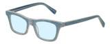 Profile View of Eyebobs Jean Pool Designer Blue Light Blocking Eyeglasses in Blue Denim Unisex Square Full Rim Acetate 45 mm