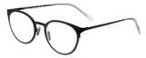 Profile View of Eyebobs Jim Dandy Unisex Round Designer Reading Glasses Satin Black Crystal 50mm