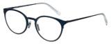Profile View of Eyebobs Jim Dandy Designer Reading Eye Glasses with Custom Cut Powered Lenses in Satin Navy Blue Crystal Unisex Round Full Rim Metal 50 mm