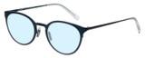 Profile View of Eyebobs Jim Dandy Designer Blue Light Blocking Eyeglasses in Satin Navy Blue Crystal Unisex Round Full Rim Metal 50 mm