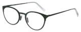 Profile View of Eyebobs Jim Dandy Designer Single Vision Prescription Rx Eyeglasses in Satin Forest Green Crystal Unisex Round Full Rim Metal 50 mm