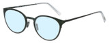 Profile View of Eyebobs Jim Dandy Designer Blue Light Blocking Eyeglasses in Satin Forest Green Crystal Unisex Round Full Rim Metal 50 mm