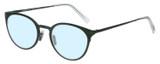 Profile View of Eyebobs Jim Dandy Designer Progressive Lens Blue Light Blocking Eyeglasses in Satin Forest Green Crystal Unisex Round Full Rim Metal 50 mm