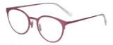 Profile View of Eyebobs Jim Dandy Designer Reading Eye Glasses with Custom Cut Powered Lenses in Satin Fuchsia Pink Purple Unisex Round Full Rim Metal 50 mm