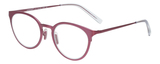 Profile View of Eyebobs Jim Dandy Designer Single Vision Prescription Rx Eyeglasses in Satin Fuchsia Pink Purple Unisex Round Full Rim Metal 50 mm