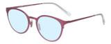 Profile View of Eyebobs Jim Dandy Designer Blue Light Blocking Eyeglasses in Satin Fuchsia Pink Purple Unisex Round Full Rim Metal 50 mm