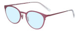 Profile View of Eyebobs Jim Dandy Designer Progressive Lens Blue Light Blocking Eyeglasses in Satin Fuchsia Pink Purple Unisex Round Full Rim Metal 50 mm