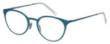 Profile View of Eyebobs Jim Dandy Designer Reading Eye Glasses with Custom Cut Powered Lenses in Satin Teal Blue Crystal Unisex Round Full Rim Metal 50 mm