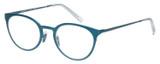 Profile View of Eyebobs Jim Dandy Designer Bi-Focal Prescription Rx Eyeglasses in Satin Teal Blue Crystal Unisex Round Full Rim Metal 50 mm