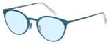 Profile View of Eyebobs Jim Dandy Designer Blue Light Blocking Eyeglasses in Satin Teal Blue Crystal Unisex Round Full Rim Metal 50 mm