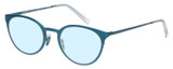 Profile View of Eyebobs Jim Dandy Designer Progressive Lens Blue Light Blocking Eyeglasses in Satin Teal Blue Crystal Unisex Round Full Rim Metal 50 mm