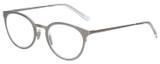 Profile View of Eyebob Jim Dandy Unisex Round Designer Reading Glasses Satin Silver Crystal 50mm