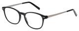Profile View of Eyebobs Kibitzer Round Full Rim Designer Reading Glasses Gloss Black Silver 48mm