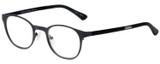 Profile View of Eyebobs Mathlete Designer Reading Eye Glasses with Custom Cut Powered Lenses in Matte Gun Metal Black Unisex Round Full Rim Metal 46 mm