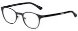 Profile View of Eyebobs Mathlete Designer Single Vision Prescription Rx Eyeglasses in Matte Gun Metal Black Unisex Round Full Rim Metal 46 mm