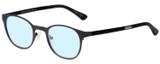 Profile View of Eyebobs Mathlete Designer Progressive Lens Blue Light Blocking Eyeglasses in Matte Gun Metal Black Unisex Round Full Rim Metal 46 mm