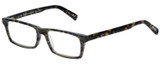 Profile View of Eyebobs Number Cruncher Designer Reading Eye Glasses with Custom Cut Powered Lenses in Striped Grey Brown Tortoise Havana Unisex Rectangle Full Rim Acetate 53 mm