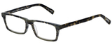 Profile View of Eyebobs Number Cruncher Designer Single Vision Prescription Rx Eyeglasses in Striped Grey Brown Tortoise Havana Unisex Rectangle Full Rim Acetate 53 mm