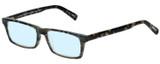 Profile View of Eyebobs Number Cruncher Designer Blue Light Blocking Eyeglasses in Striped Grey Brown Tortoise Havana Unisex Rectangle Full Rim Acetate 53 mm