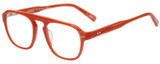 Profile View of Eyebobs On the Nose Designer Reading Eye Glasses with Custom Cut Powered Lenses in Pink Red Grapefruit Crystal Unisex Square Full Rim Acetate 50 mm